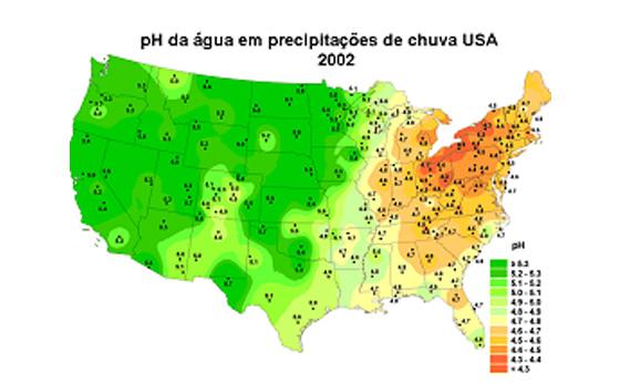 pH da água em precipitações de chuva USA 2002